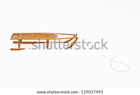 Wooden sled - stock photo