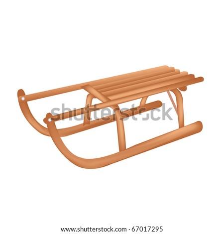Wooden Sledge, Isolated On White Background - stock photo