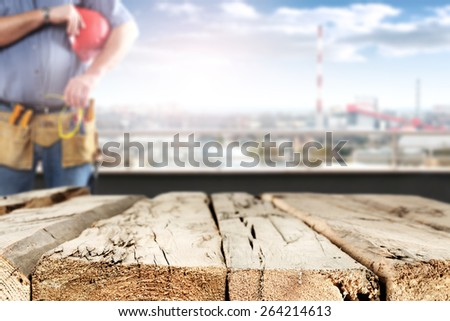 wooden space for you and worker  - stock photo
