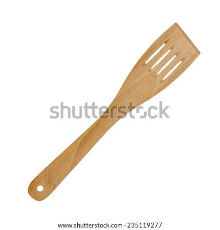 Wooden spatula kitchen utensil isolated on white - stock photo