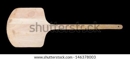 wooden spatula pizza on black background - stock photo