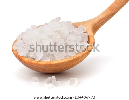 Wooden spoon fool with salt isolated on white background cutout - stock photo