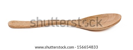 wooden spoon isolated on a white background - stock photo