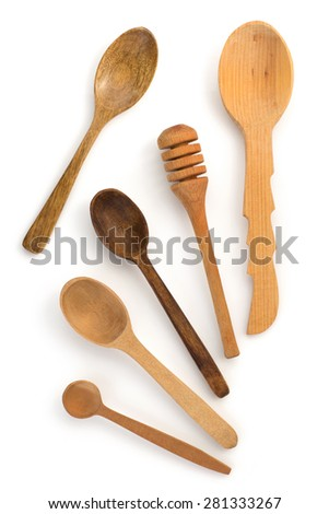wooden spoon isolated on white background - stock photo