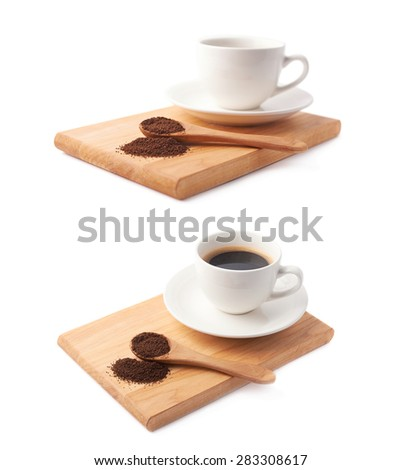 Wooden spoon of ground coffee in front of the cup of a fresh black coffee on a wooden serving board, composition isolated over the white background, set of two different foreshortenings - stock photo