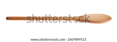 Wooden spoon side view isolated  on white background. - stock photo