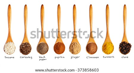 wooden spoons with different spices isolated on white background - stock photo