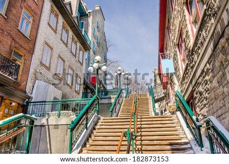 Wooden Stairs in Quebec City Old Town - stock photo