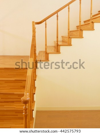 wooden stairs interior - stock photo