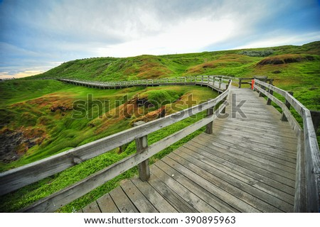 Wooden stairs to Ventnor beach, The Nobbies center overlook Seal Rocks. Grant Point, western tip of Phillip Island, Victoria, Australia. - stock photo