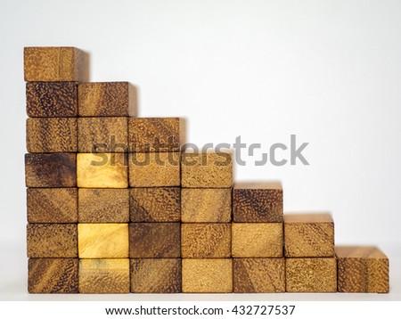 wooden stairway, conceptual of development business career. - stock photo