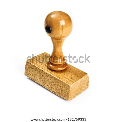 Wooden stamp on white background - stock photo