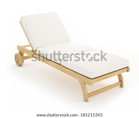wooden sunbed with pillows isolated on white background - stock photo