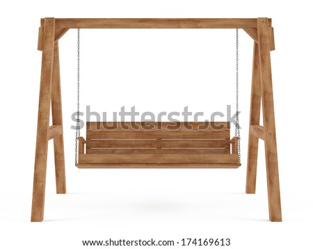 Wooden swing isolated - stock photo