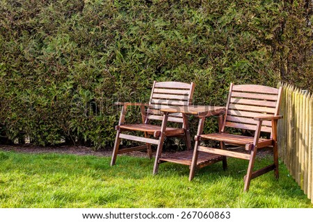 wooden table and chairs on a green lawn in the backyard on a sunny day in the background hedgerow and old wooden fence - stock photo