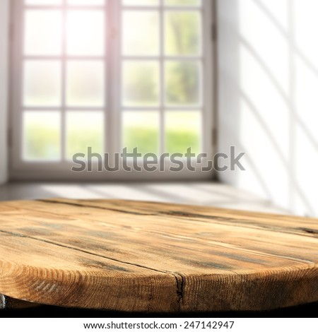 wooden table and window place  - stock photo