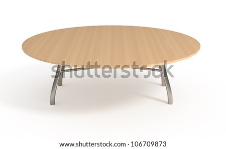 Wooden table, isolated on white, with clipping path, 3d illustration - stock photo