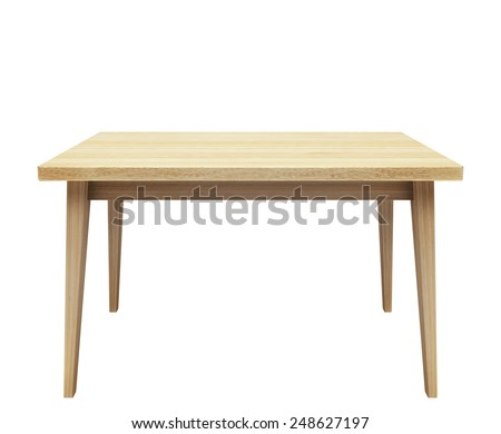 Wooden table on isolated white background. - stock photo