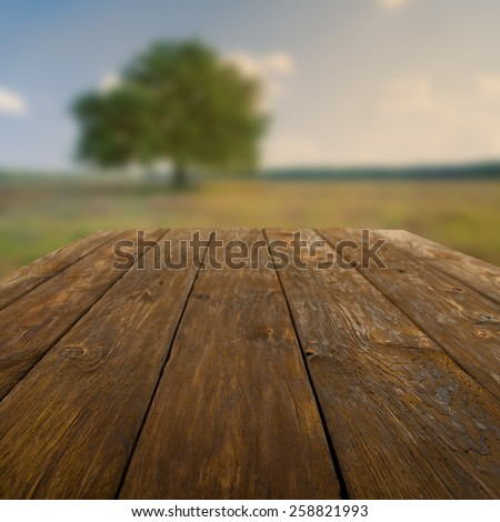 Wooden table outdoors with autumn field and tree background - stock photo