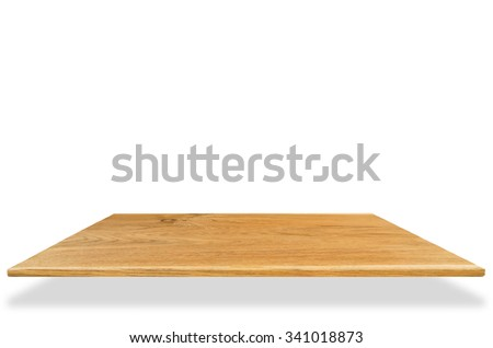 Wooden table top isolated on white with clipping path - can be used for display or editing of your product. - stock photo