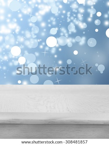 Wooden table  with abstract  blur background - stock photo