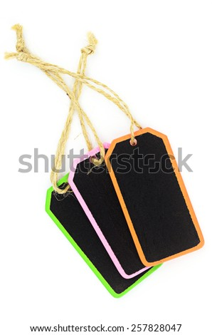 wooden tag with a rope on white background - stock photo