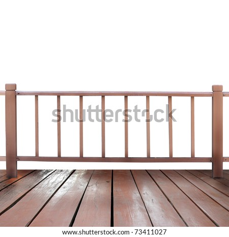 wooden terrace and white background - stock photo