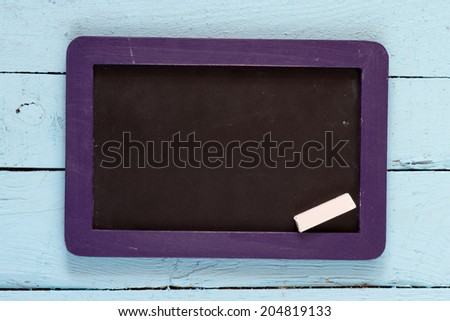 Wooden texture background, blackboard ( chalkboard ) texture. Empty blank black chalkboard with chalk traces - stock photo