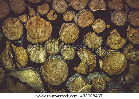 Wooden texture with pile of tree trunks  Beautiful background with a pile of wood logs ready to be chopped, perfect details on the tree rings and curves.  - stock photo
