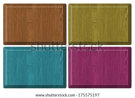 wooden textured set web banners - stock photo