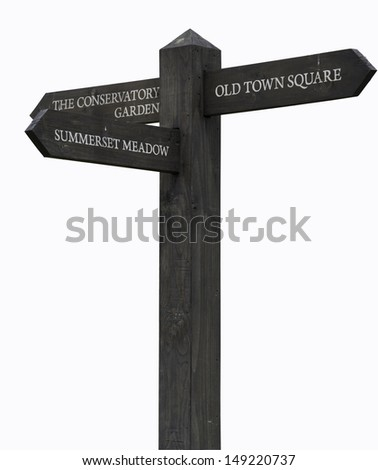 Wooden Three arrows road sign isolated on white - stock photo