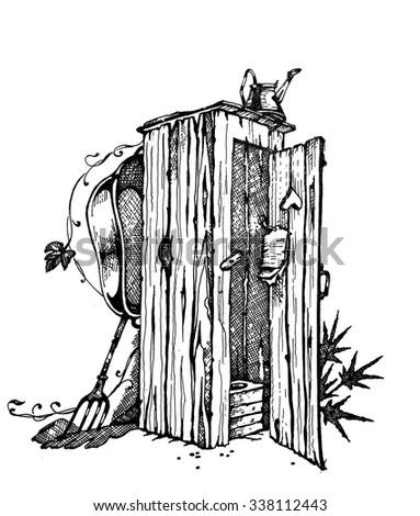 Wooden toilet. graphic design gel pen. Adult Coloring Books - stock photo