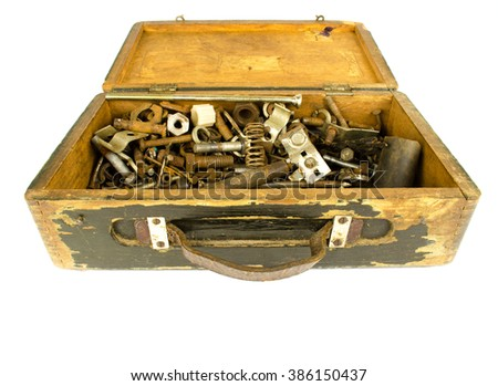 wooden toolbox with different instruments. tool renovation on grunge wood. Tool Kit. Box with construction tools. Construction tools. Home and house renovation concept. set of tools in tool box - stock photo