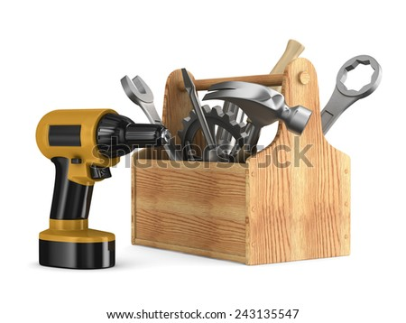 Wooden toolbox with tools. Isolated 3D image - stock photo
