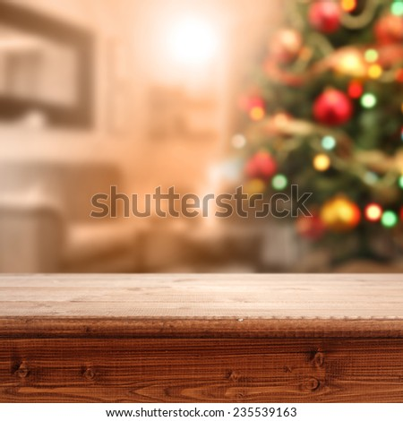 wooden top of brown color and interior of xmas tree  - stock photo
