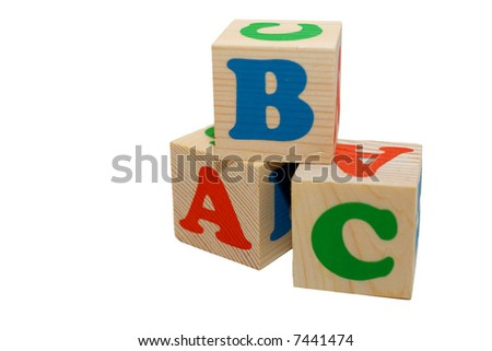 wooden toy blocks with letters isolated on white - stock photo
