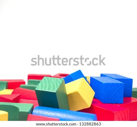 Wooden Toy Bricks - stock photo