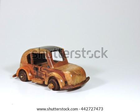 Wooden Toy Car Isolated on White Isolated on White - stock photo