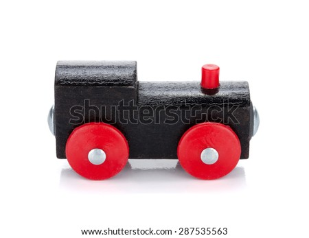 Wooden toy colored train. Isolated on white background - stock photo