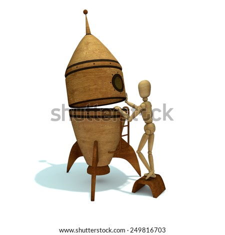 Wooden toy gets on rocket - stock photo