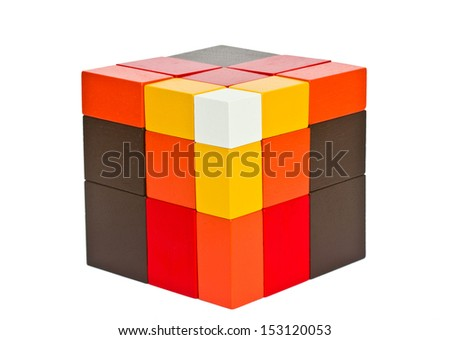 Wooden toy isolated on white background. - stock photo