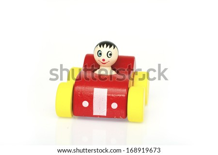 wooden toy race car - stock photo