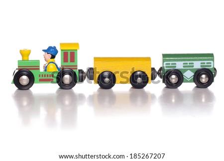 Wooden toy train studio cutout - stock photo