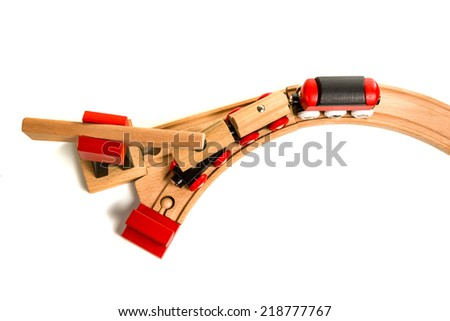 Wooden toy train with crane a top view isolated on white background - stock photo