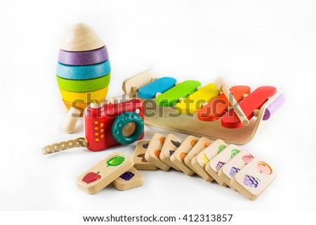 Wooden toys isolated on white background - stock photo