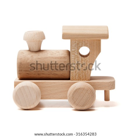 Wooden train on the white background - stock photo