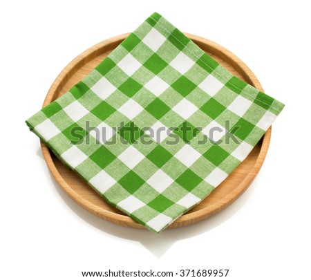wooden tray and napkin isolated on white background - stock photo
