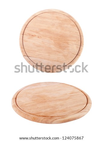 wooden  tray for meat and vegetable on white background - stock photo