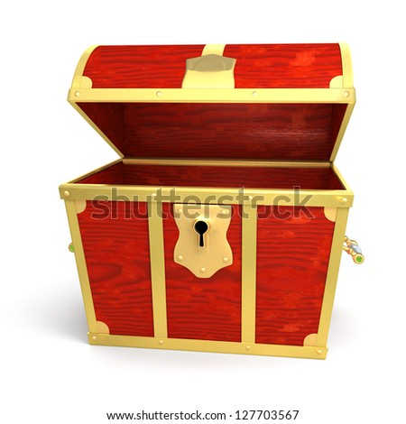 Wooden treasure chest - isolated on white background - stock photo
