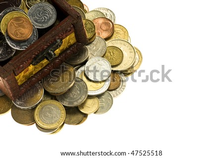 Wooden treasure  chest of money, isolated over white background - stock photo